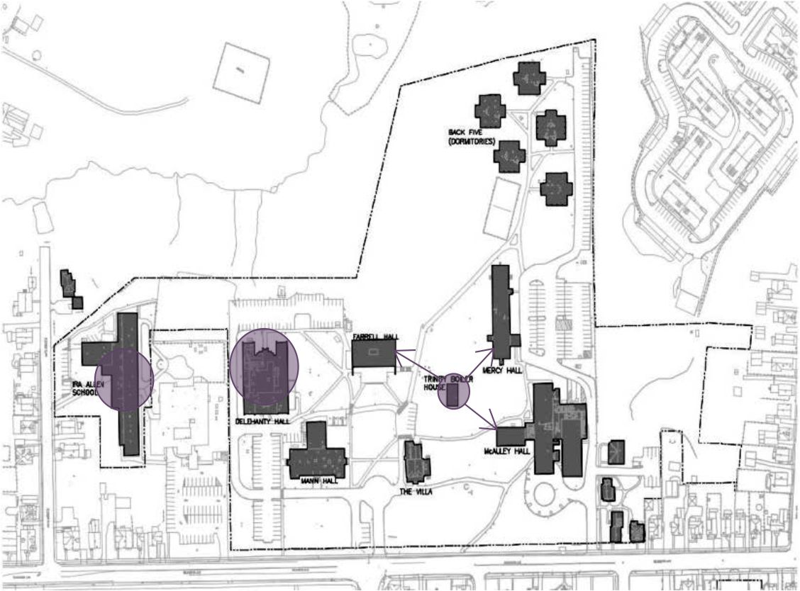 Site plan for Trinity Campus energy modeling by ENGVT